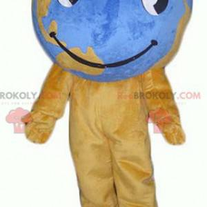 Giant brown and blue world map mascot - Redbrokoly.com