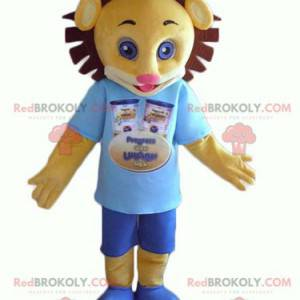 Mascot yellow and brown lion cub in blue outfit - Redbrokoly.com