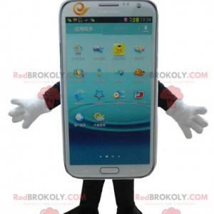 Maskot mobilní telefon s bílou dotykovou obrazovkou -