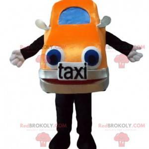 Maskotka gigantyczny pomarańczowy i niebieski samochód taxi -