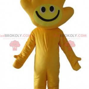 Gelbes Maskottchen mit dem Kopf in Form einer Hand -