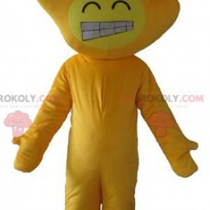 Žlutý maskot s hlavou ve tvaru ruky - Redbrokoly.com