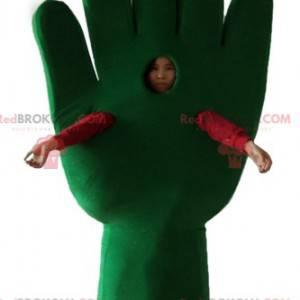 Giant green hand glove mascot - Redbrokoly.com