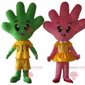 2 maskoter av hender en rosa og en veldig søt grønn -