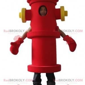 Obří červený a žlutý požární hydrant maskot - Redbrokoly.com