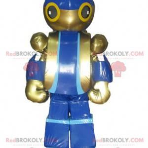 Reusachtige blauwe en gouden speelgoedrobotmascotte -