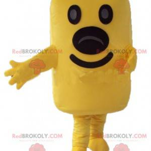 Giant yellow snowman mascot in the shape of a rectangle -