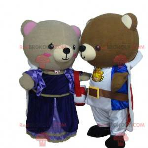 2 bear mascots dressed as princess and knight - Redbrokoly.com