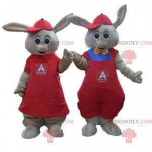 2 maskoti hnědých králíků oblečeni v červené barvě -