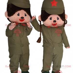2 Maskottchen von Kiki, dem berühmten Plüsch-Militäraffen -