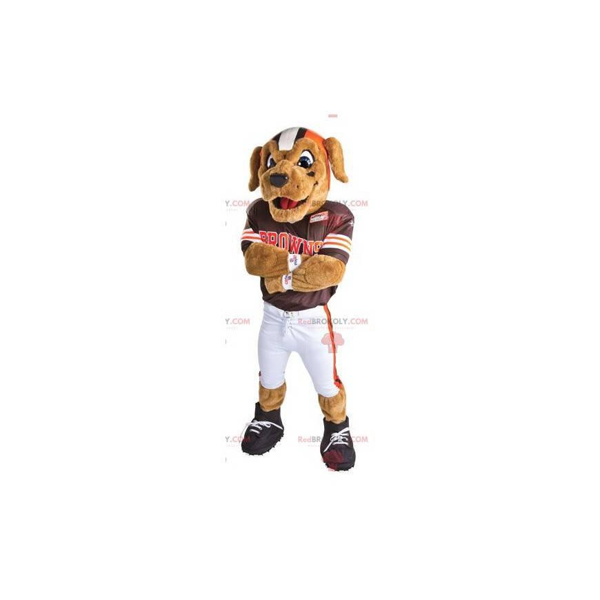 Pies maskotka przebrany za piłkarza amerykańskiego -