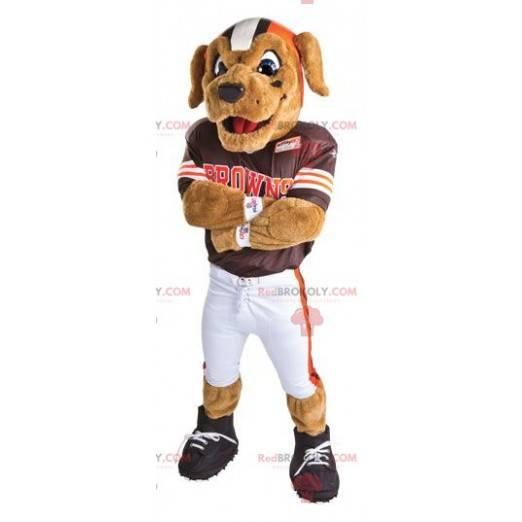 Hundemaskot kledd som en amerikansk fotballspiller -