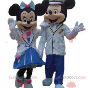 2 schattige goed geklede mascottes van Minnie en Mickey Mouse -