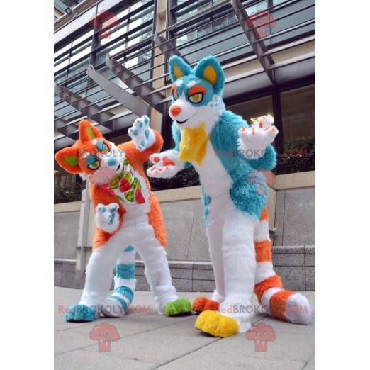 Pár maskotů modré a oranžové kočky - Redbrokoly.com