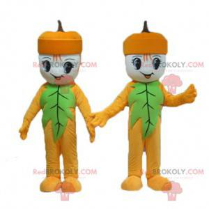 2 mascots of yellow and green snowman acorns - Redbrokoly.com
