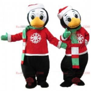 2 Pinguin-Maskottchen im Winteroutfit - Redbrokoly.com