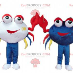 2 mascotes caranguejos muito coloridos e sorridentes -