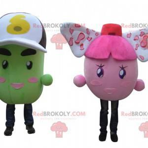 2 Maskottchen mit bunten rosa und grünen Kartoffeln -