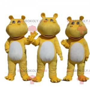 3 mascotes hipopótamos amarelos e brancos - Redbrokoly.com