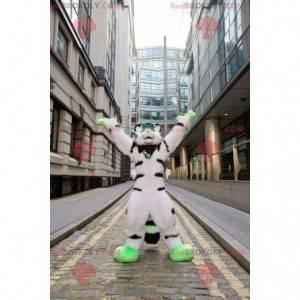 Bílý černý a zelený chlupatý kočka maskot - Redbrokoly.com