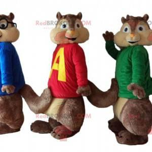 3 Eichhörnchen-Maskottchen von Alvin und den Chipmunks -