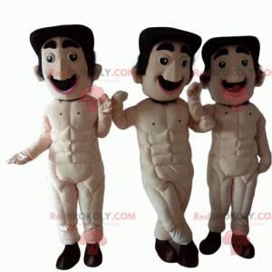 3 Maskottchen von völlig nackten Männern mit Schnurrbart -