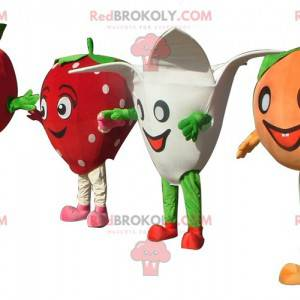 4 mascots a tomato a strawberry a flower and a tangerine -