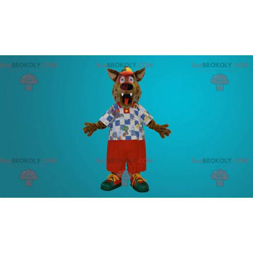 Roztomilý a barevný maskot vlka - Redbrokoly.com