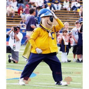 Brun bjørnemaskot i gult og blått antrekk - Redbrokoly.com