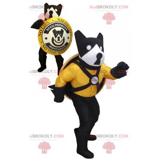 Černá žlutá a bílá psí maskot se štítem - Redbrokoly.com