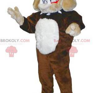 Braunes beige und weißes Bulldoggenmaskottchen - Redbrokoly.com
