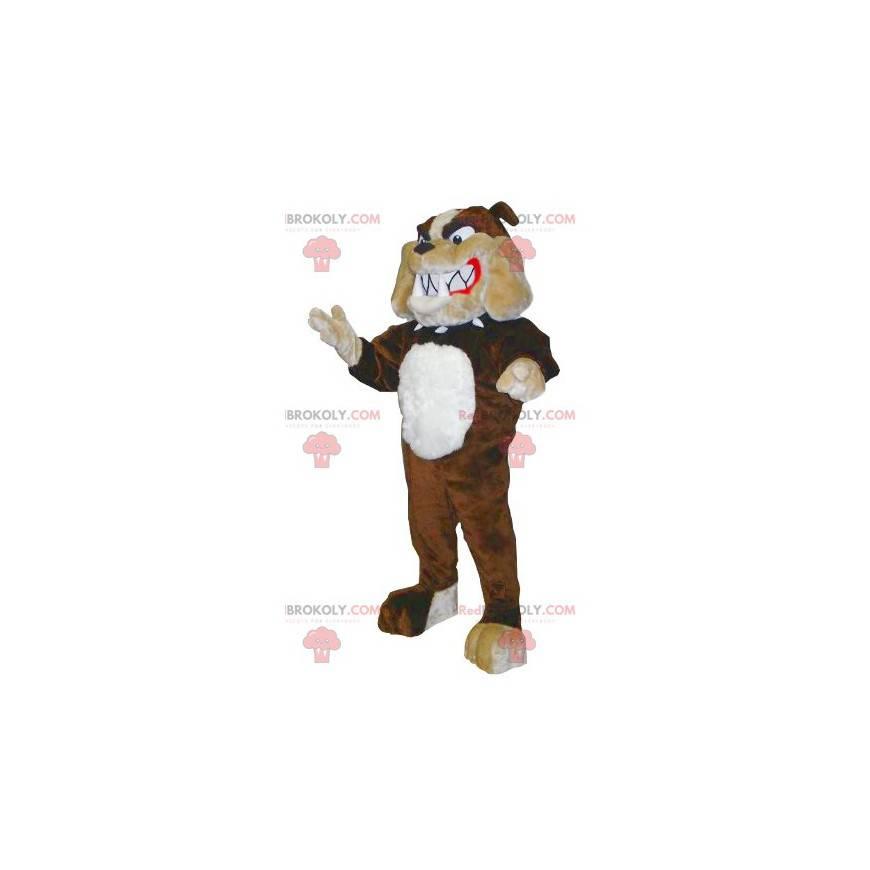 Hnědý béžový a bílý buldok maskot - Redbrokoly.com