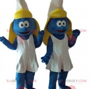 2 mascotes do personagem de desenho animado Smurfette -