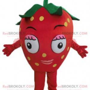 Mascot giant red strawberry. Red fruit mascot - Redbrokoly.com