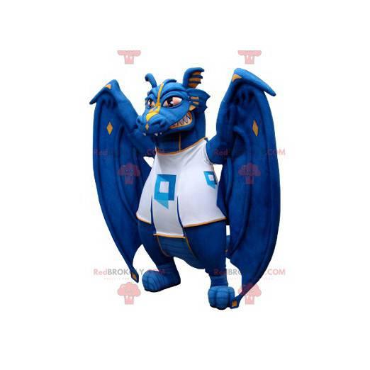 Modrý a bílý drak maskot - Redbrokoly.com