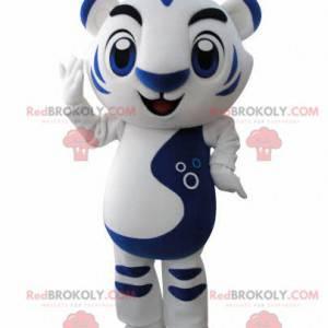 Maskottchen weißer und blauer Tiger. Katzenmaskottchen -
