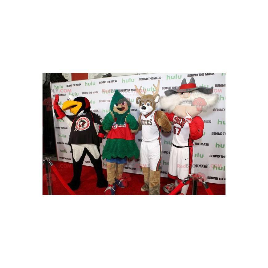4 maskoti, pták, strom, sob a starý muž - Redbrokoly.com