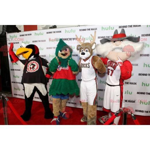 4 mascots a bird a tree a reindeer and an old man -