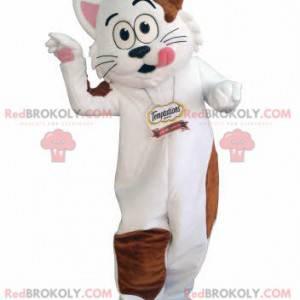 Maskot bílá a hnědá kočka. Gurmánský maskot - Redbrokoly.com