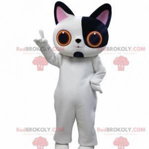 Maskot bílá a černá kočka s velkýma očima - Redbrokoly.com