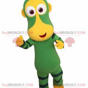 Zielona i żółta małpa maskotka. Futurystyczna maskotka zwierząt