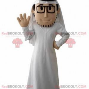 Vousatý sultán maskot s bílým oblečením a brýlemi -