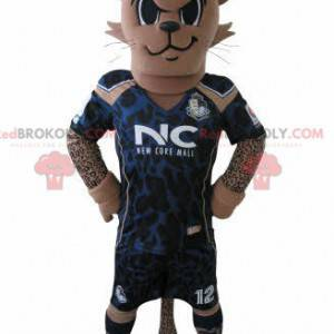 Tiger mascot in footballer outfit with a blue crest -