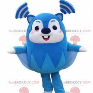 Velmi zábavný maskot modré a bílé létající veverky -