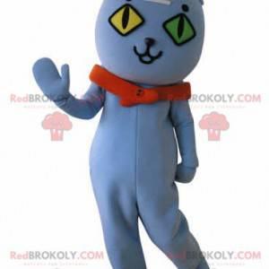 Maskot modrá kočka s očima na zdi. Modrý medvídek maskot -