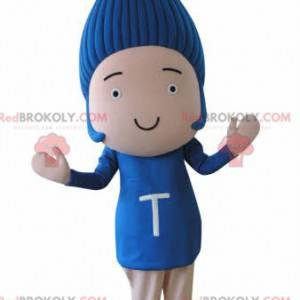 Lustiges Schneemannmaskottchen mit blauen Haaren -