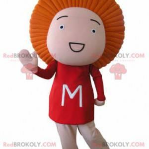 Lustiges Schneemannmaskottchen mit orangefarbenen Haaren -