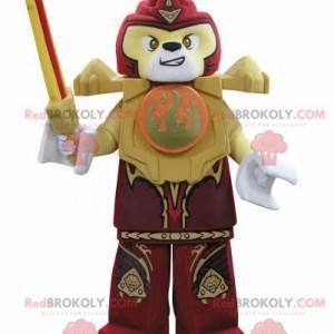 Lego maskot žlutý a červený tygr s mečem - Redbrokoly.com