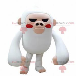 Biało-różowa małpa maskotka wyglądająca groźnie - Redbrokoly.com