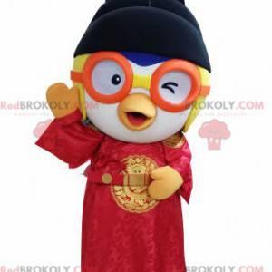 Vogelmaskottchen im asiatischen Outfit mit Brille -